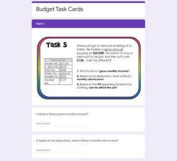Budget Task Cards
