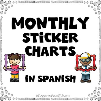 Monthly Sticker Charts for Easy Measurement of Speech Attendance {SPANISH}
