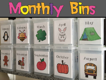 Monthly Storage Bin Labels