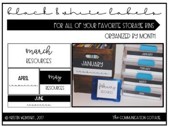 Monthly Storage Labels- Black & White
