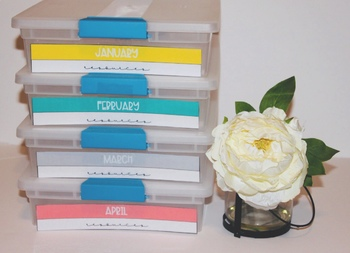Monthly Storage Labels- Coral, Mint, Grey & Yellow