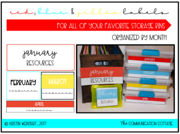 Monthly Storage Labels- Red, Blue & Yellow