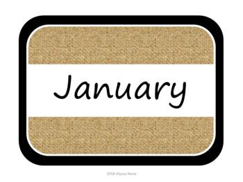 Monthly Storage Tub Labels - Burlap