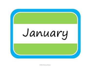 Monthly Storage Tub Labels - Lime & Aqua