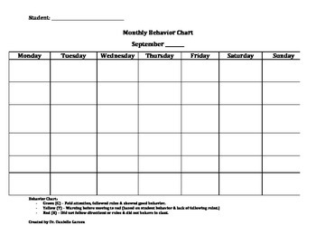 Monthly Student Behavior Chart Template