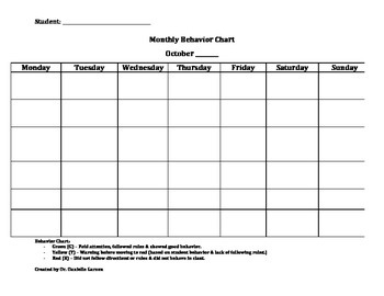 Monthly student behavior chart template by danielle garzon for Behaviour log template