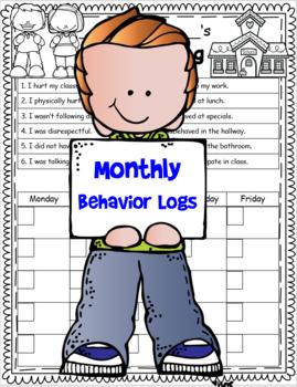Monthly Student Behavior Logs