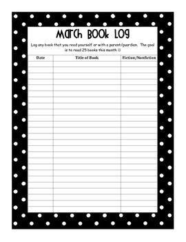 Monthly Student Book Logs