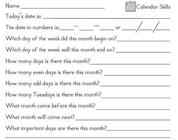 Monthly Student Calendars, Worksheets, Blank and Prefilled 2019-2020