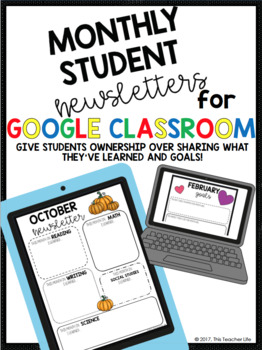 Monthly Student Calendars for Google Classroom