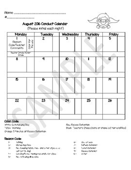 Superhero Monthly Student Conduct Calendars 2017-2018