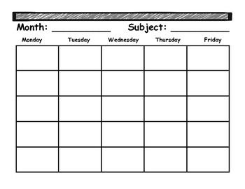 Monthly Student Planner {Version 1 with subject and month}