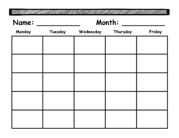 Monthly Student Planner {version 2 with name and month}