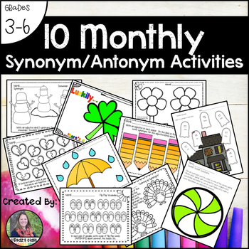 Bundle of Monthly Synonym and Antonym Activities