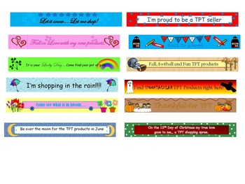 Monthly TPT Store Banners