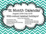 Monthly Teacher Calendar 2014-2015