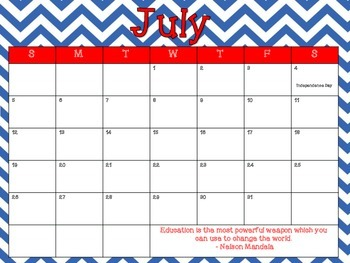 Monthly Teacher Calendar 2014-2015