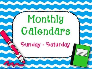 Monthly Teacher Calendars