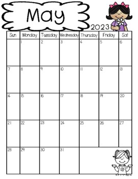 Monthly Teacher Calendars for Binders or Notebooks