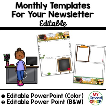 Monthly Templates for Your Newsletter- EDITABLE-