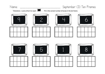Monthly Ten Frame Practice