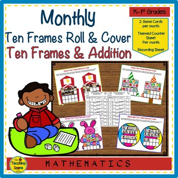 Ten Frame Roll & Cover Monthly & Holiday Math Games