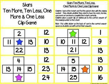 10 More, 10 Less, 1 More or 1 Less Math Clip Monthly & Holiday Math Games