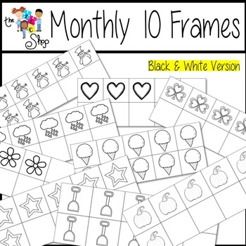 Monthly Tens Frames - BLACK & WHITE VERSION by The TLC Shop | TpT