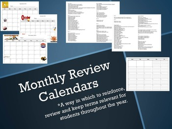 Monthly Term Review Calendars for ELA Common Core