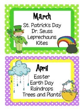 Monthly Thematic Unit Labels