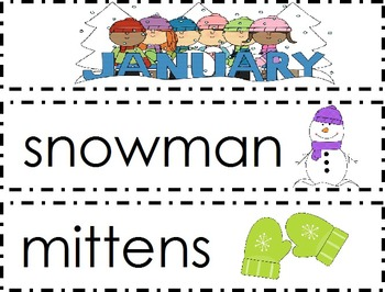 Monthly Thematic Word Wall Cards