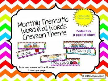 Monthly Thematic Word Wall Cards- Chevron
