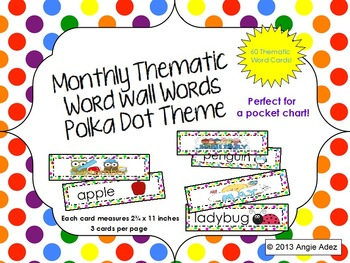 Monthly Thematic Word Wall Cards- Polka Dots