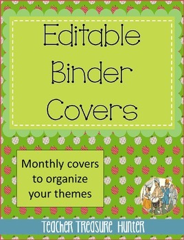 Monthly Theme Binders - Editable covers and spine