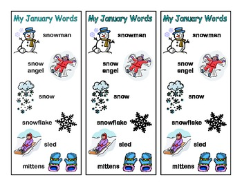 Monthly Theme Vocabulary Bookmarks