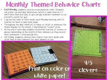 Monthly Themed Behavior Charts