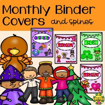 Monthly Themed Binder Covers and Spines