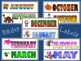 Monthly Themed Binder Labels