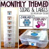Monthly Themed Book Labels and Signs