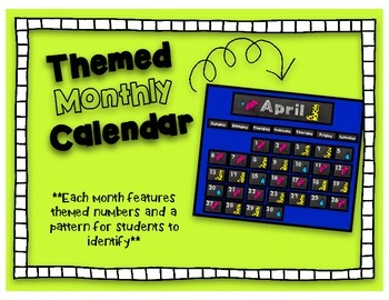 Monthly Themed Calendar- Chalkboard Style