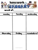 Monthly Themed Homework Sheets-For Weekly Use