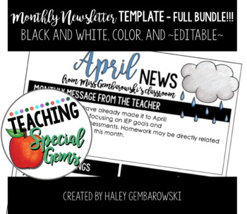 Monthly Themed Newsletters - FULL BUNDLE - Black and White, Color and Editable!!