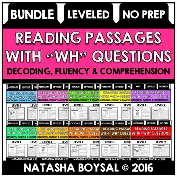 """BUNDLE Reading Comprehension Passages with """"WH"""" Questions (Leveled)"""
