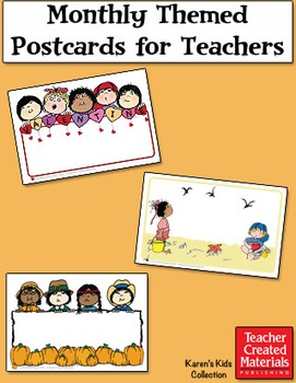 Monthly Themed Postcards for Teachers by Karen's Kids (Digital Download)