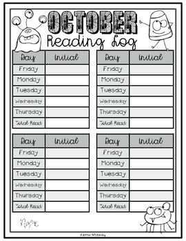 Monthly Themed Reading Logs: Includes ready made and blank templates