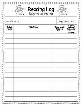 Monthly-Themed Reading Logs in English/Spanish