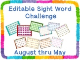 Monthly Themed Sight Word Challenge *Editable*