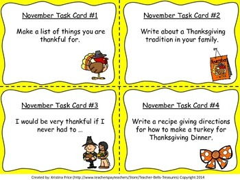 Monthly Themed Task Cards Entire Set (September-June) 200 Writing Prompts Total!