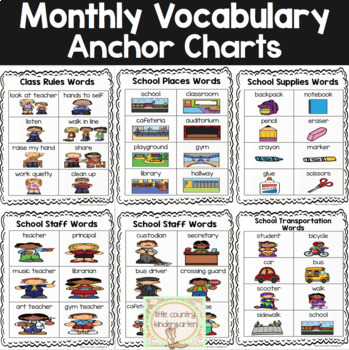 Monthly Themed Vocabulary for Portable Word Wall: August Bundle