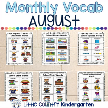 Monthly Themed Vocabulary for Portable Word Wall: August